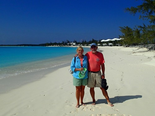 Tom and Cathie at Cape Santa Maria Resort, Long Island, Bahamas