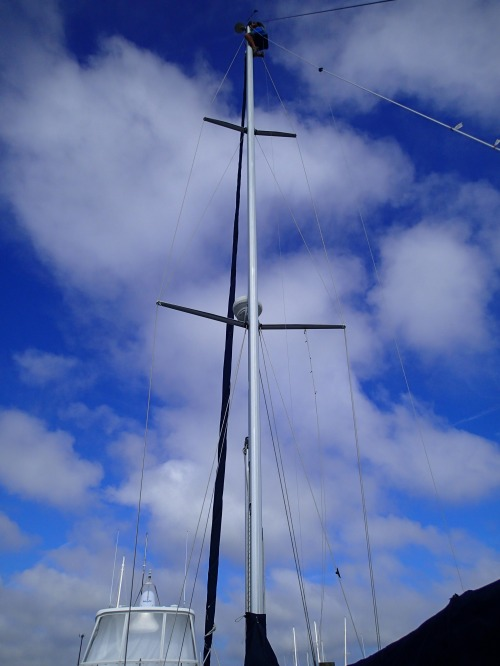 Dan/GLORY DAYS up INTERLUDE'S mast in St. Augustine.