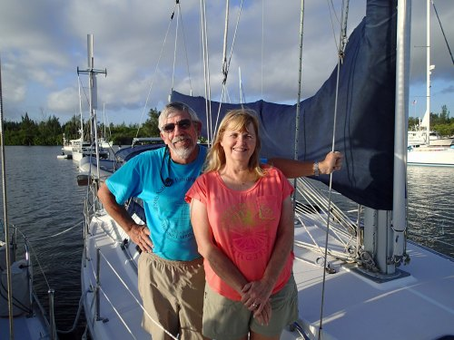 Tom and Cathie leaving our mooring ball in Vero.
