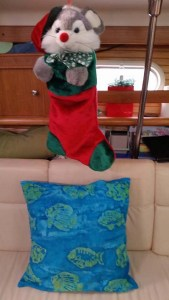 Christmas Mouse Stocking and new salon cushions from Bettye and Dennis