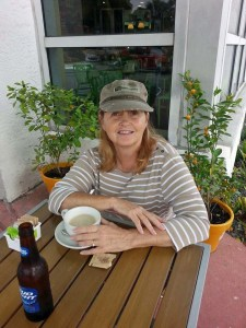 Cathie in South Beach Miami with her Chai Tea Latte!